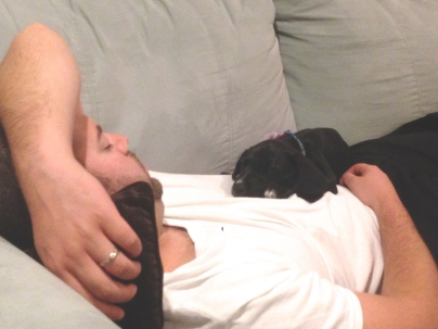 I'll just sleep on dad's chest
