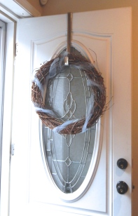 Wreath on the door with the Tulle wrapped around