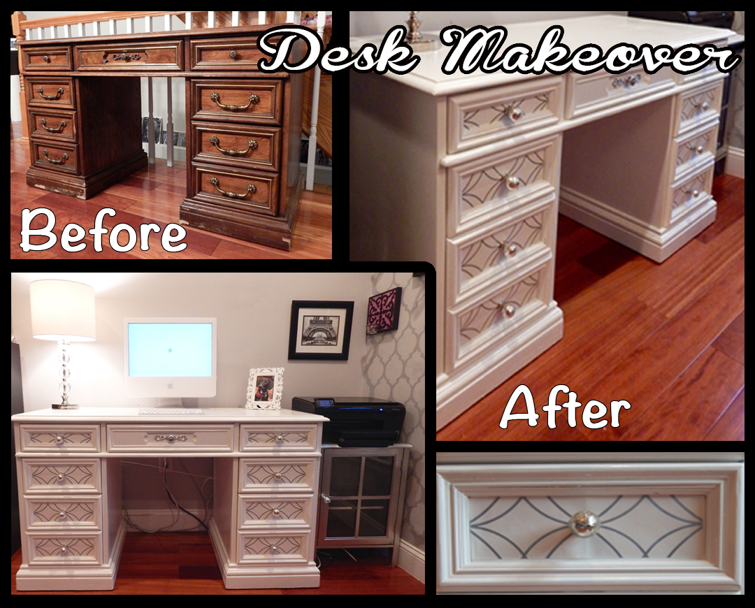 Desk Makeover With Wallpaper Inserts For Under 100