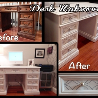 Desk Makeover with Wallpaper Inserts for Under $100!